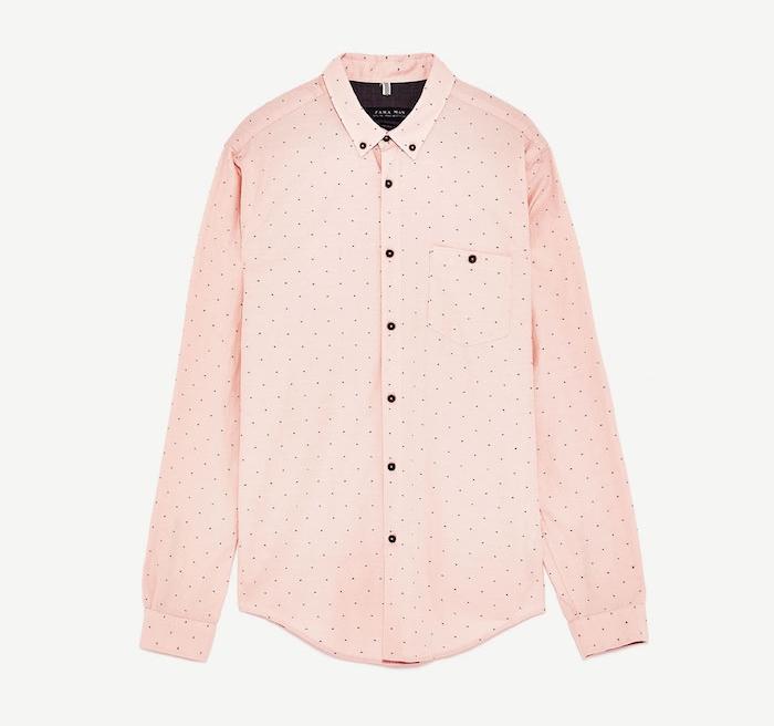 chemise zara pour homme rose originale en soldes
