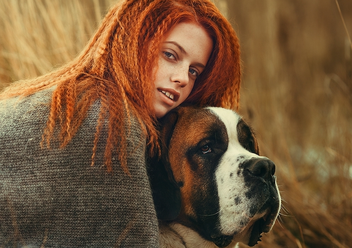 cheveux cuivré, grand chien animal de compagnie, femme dans la nature, chatain cuivré coloration femme, cheveux frisés
