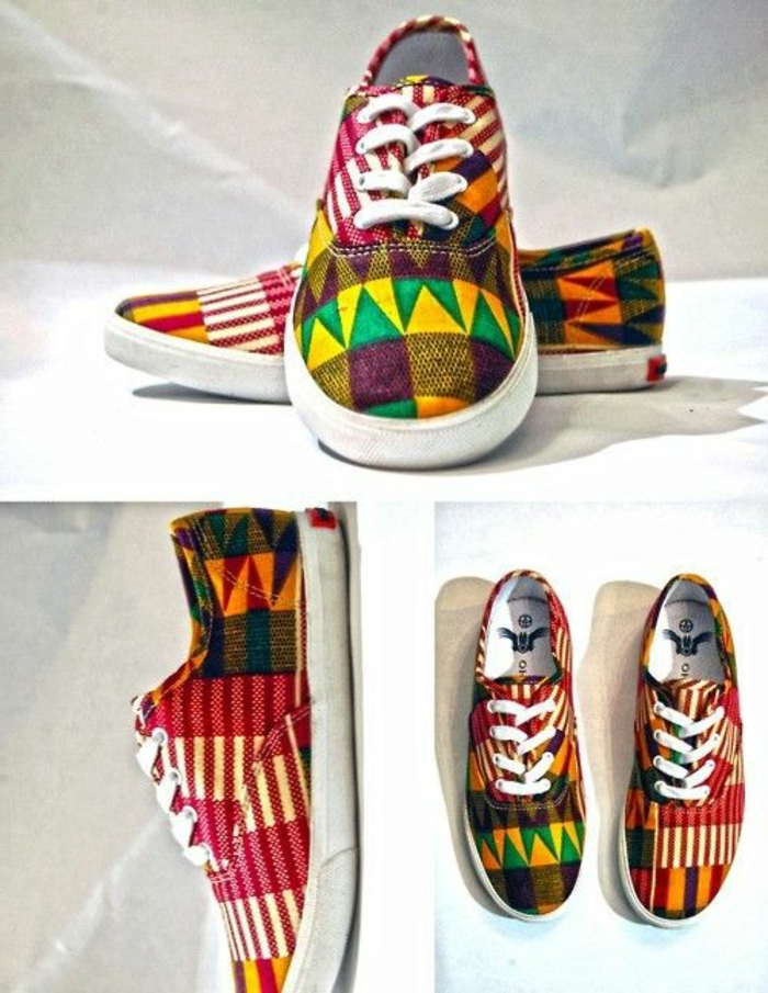 sneakers multicolores style chic ethnique, chaussures de sport originales