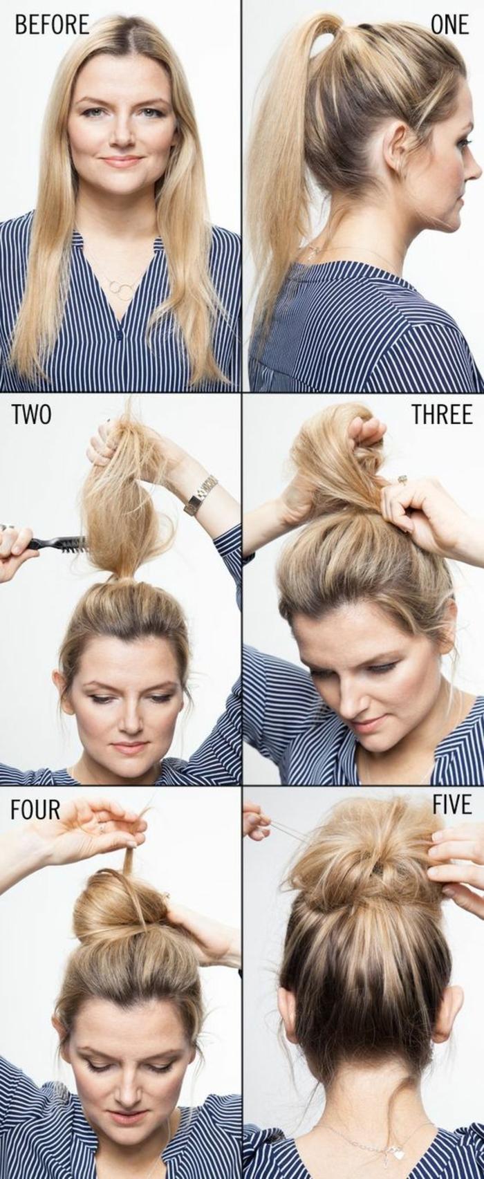 chignon facile, effet décoiffé, comment faire une coiffure femme facilement, style boheme chic, tutoriel