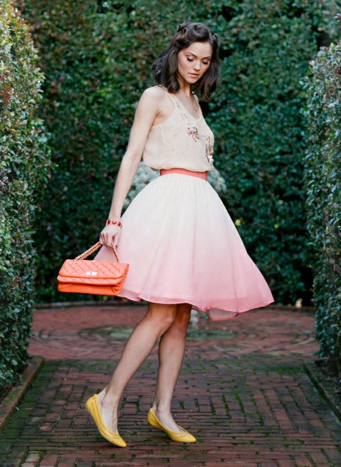 Superbe robe de cocktail mariage robe patineuse mariage chic vintage robe courte ombré effet couleur de robe