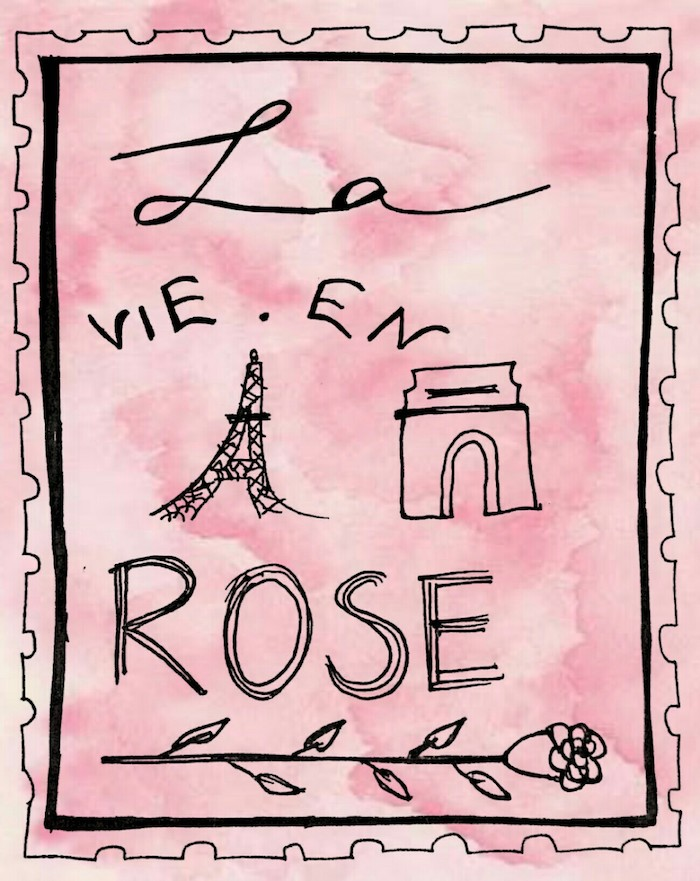 proverbe sur la vie, dessin en rose pastel avec cadre noir, voir la vie en rose, dessin tour eiffetl, belle phrase
