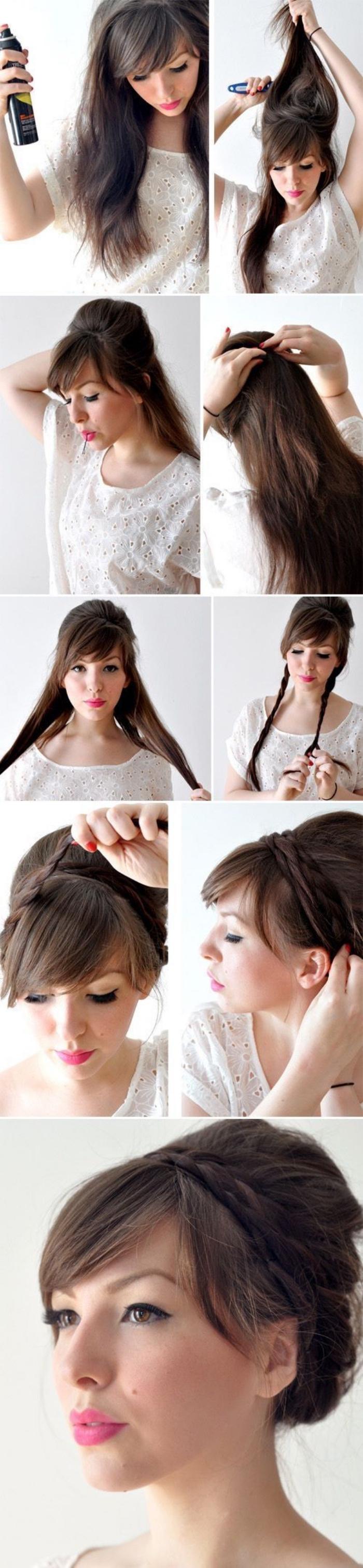 tuto coiffure a réaliser soi meme, chignon tressé, technique de coiffure simple, cheveux chatain long femme