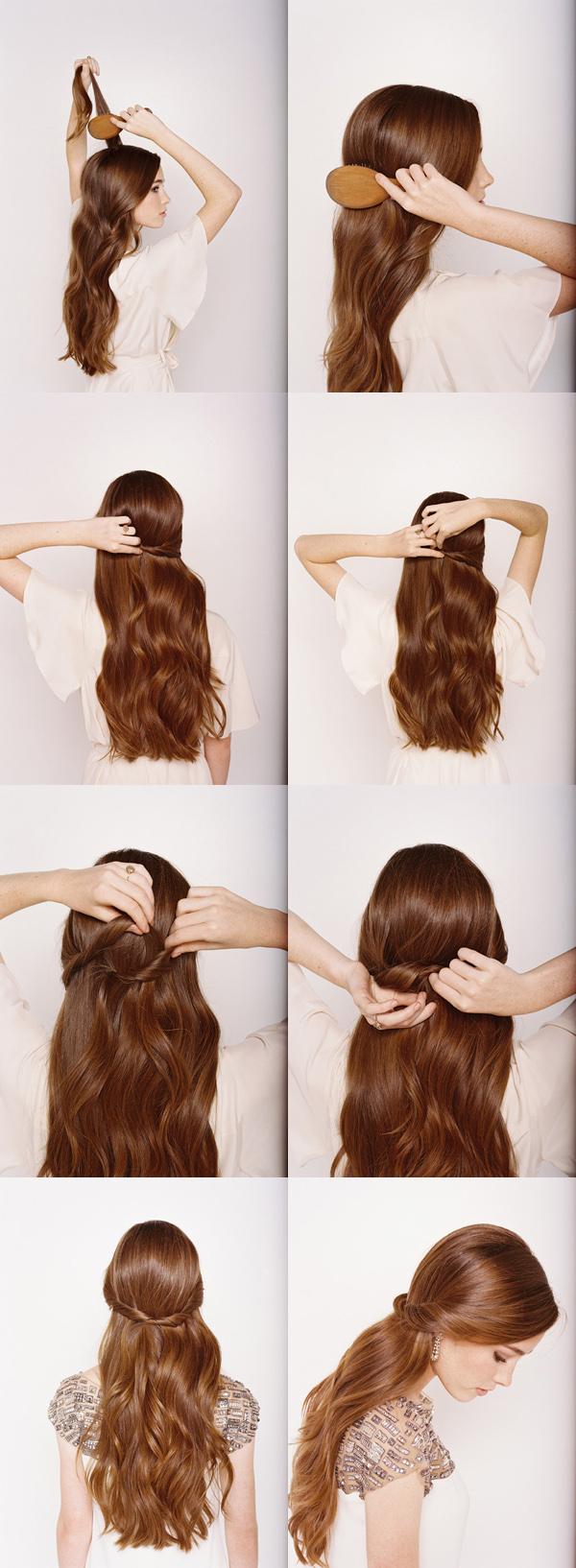 idée de coiffure facile a faire, cheveux longs bouclés, mèches de devant entortillées et croisées derrière, modele de coiffure pour mariage