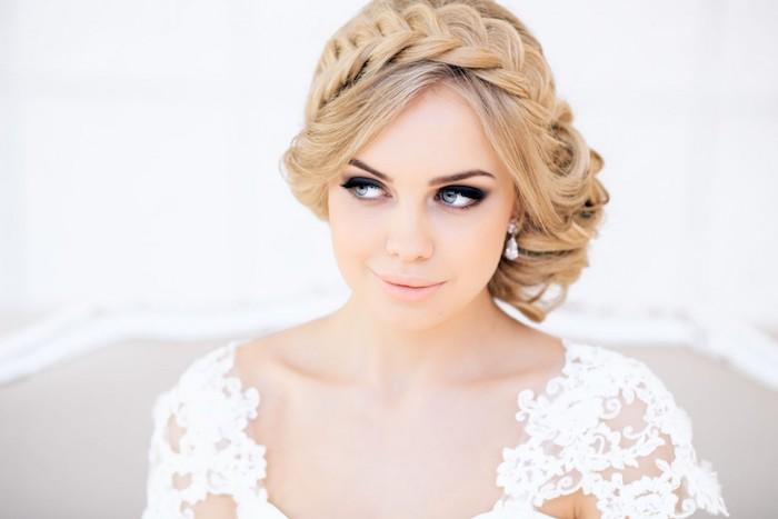 modele de coiffure, yeux bleus, couleur de cheveux blond, coiffure avec tresse