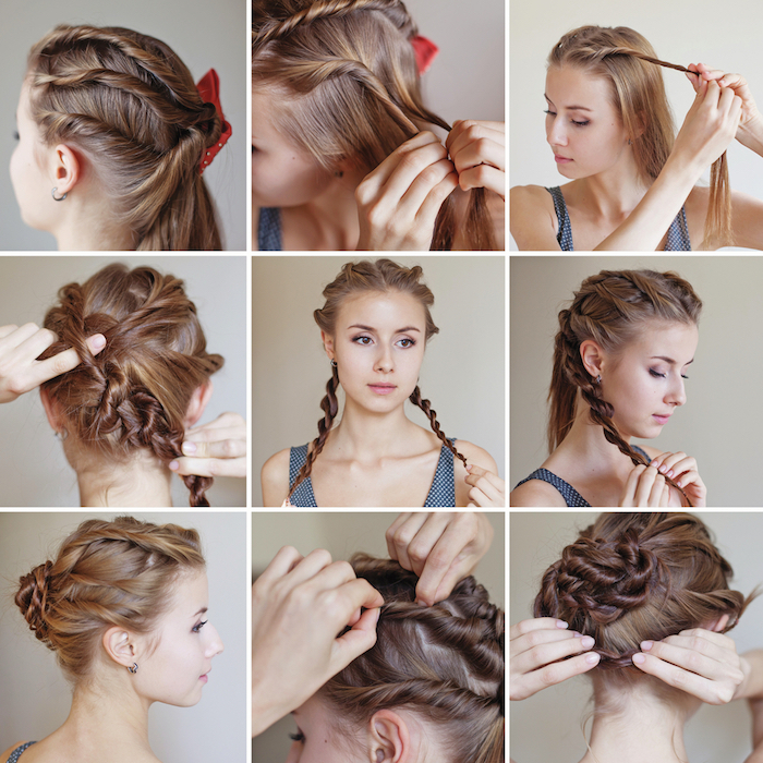 coiffure mariée, tutoriel coiffure, étapes à suivre, cheveux bruns, boucles d'oreilles, robe bleue avec bretelles
