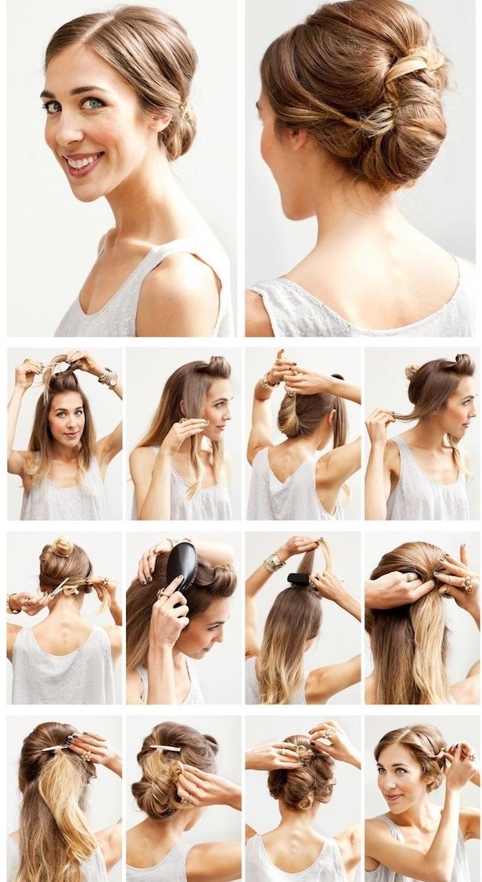 coiffure mariage cheveux long, tutoriel coiffure, étapes à suivre, cheveux balayage