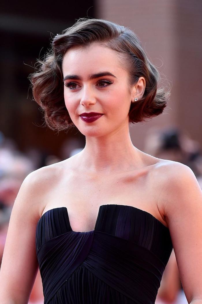jolie coiffure vintage crantée inspirée des années 20, idées coiffure pour une coupe au carré court