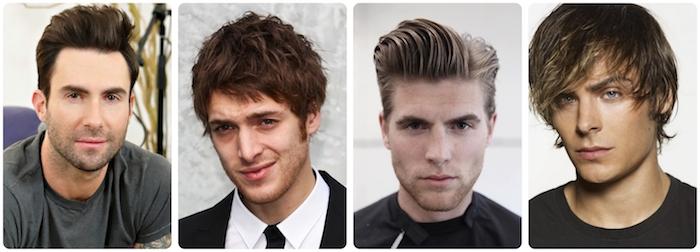 modele de coiffure, hommes stars avec visage oval, homme avec chemise blanche et cravate noire, coiffure avec frange pour homme