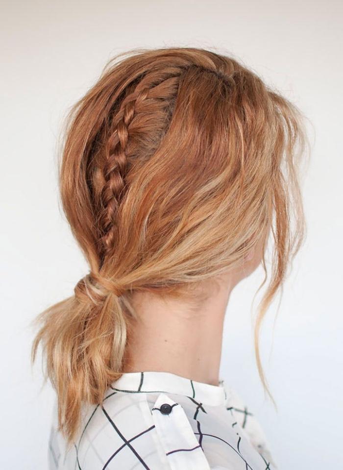 queue de cheval et tresse au milieu de la tête, idée coiffure cheveux mi long, mèches des deux côtés