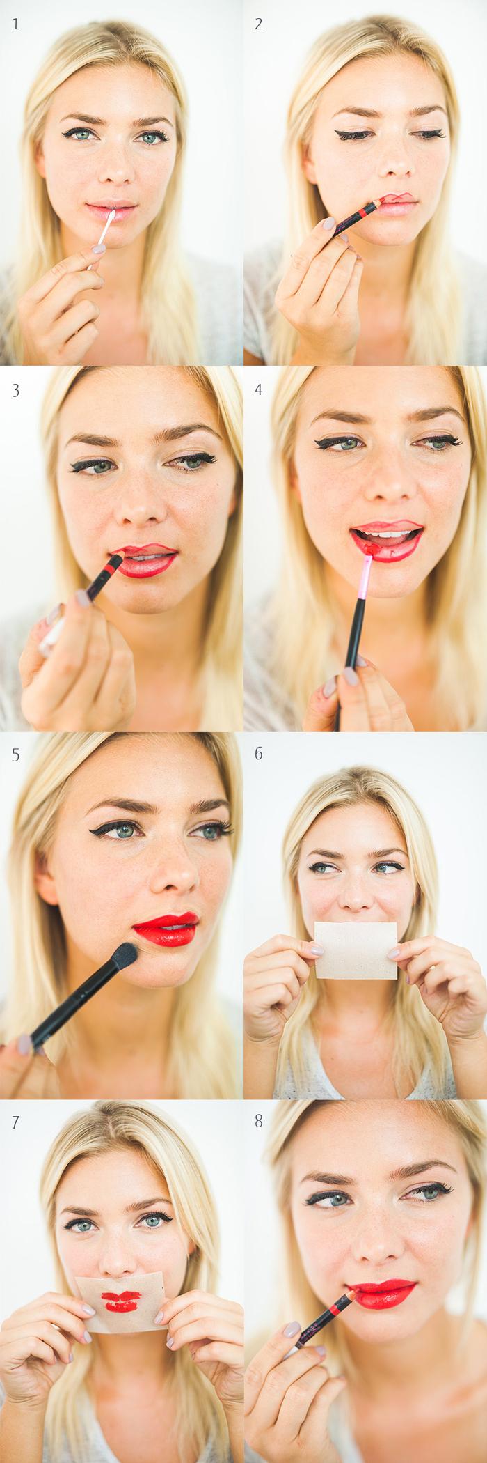 tutoriel maquillage facile pour avoir une bouche rouge brillant, astuce maquillage pour appliquer du rouge à lèvre qui duire