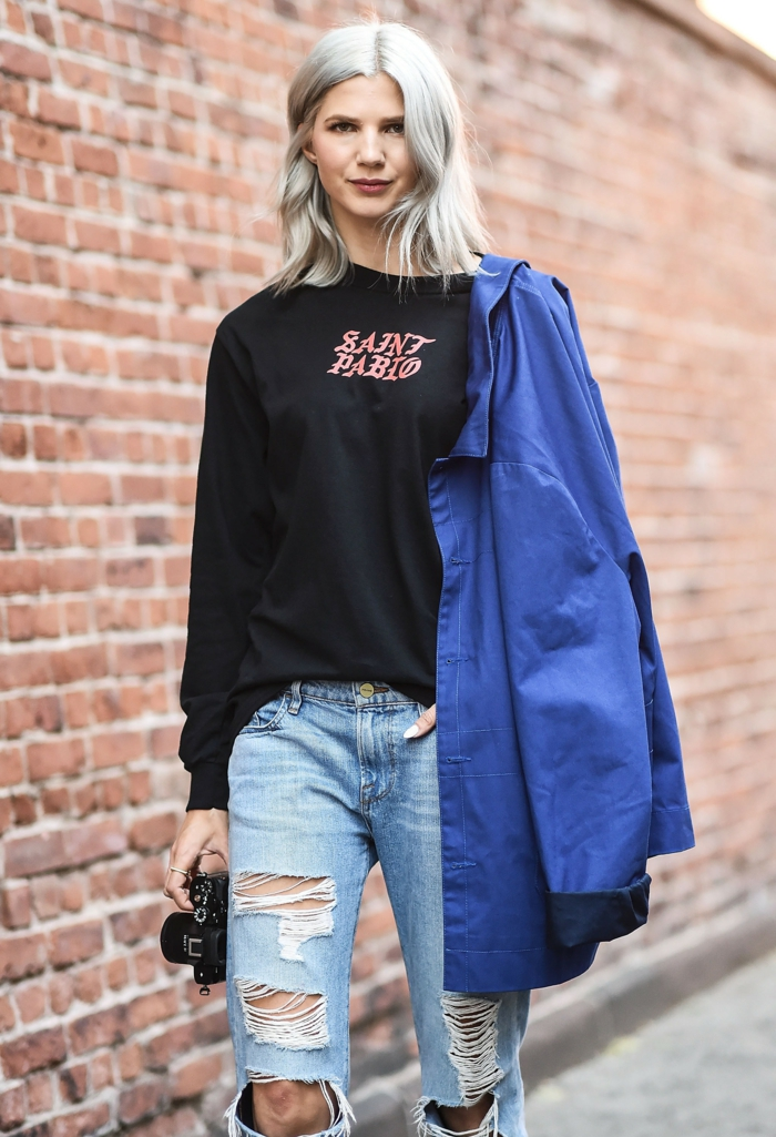 Vêtements swag tenue sport chic tenue de sport swag image swagg jean déchiré blouse grande