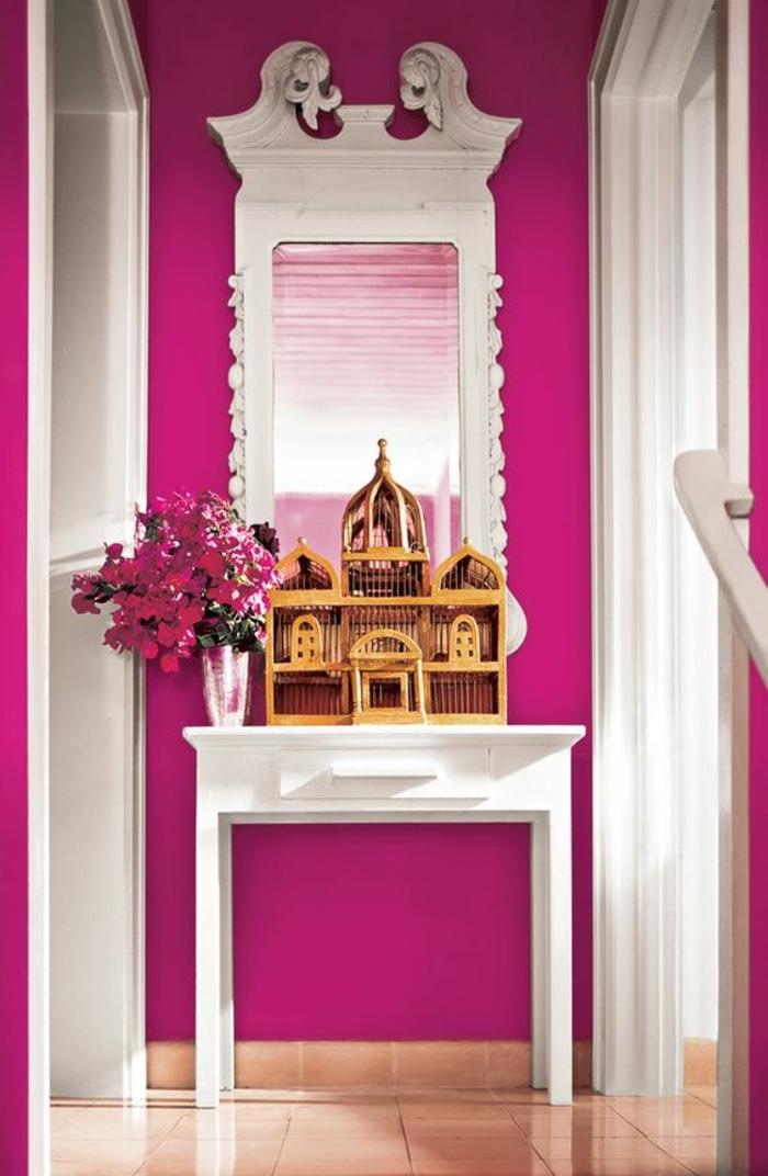 couleur fushia comment faire du rose en peinture une entree en fuchsia et blanc en style neo classique tendance