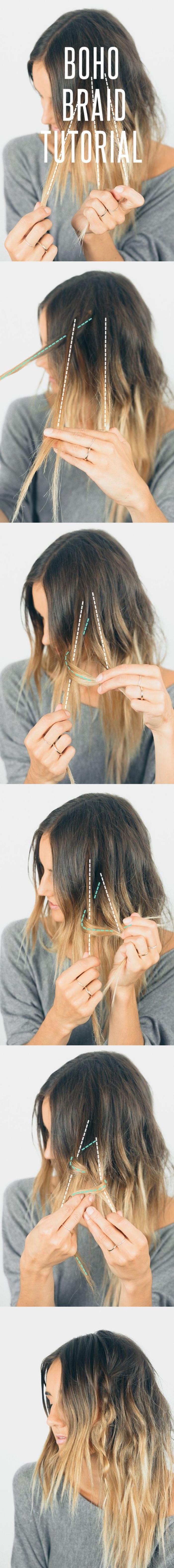 idée comment faire une tresse bohème chic dans des cheveux lâchés, tuto coiffure simple et rapide diy, ombré hair