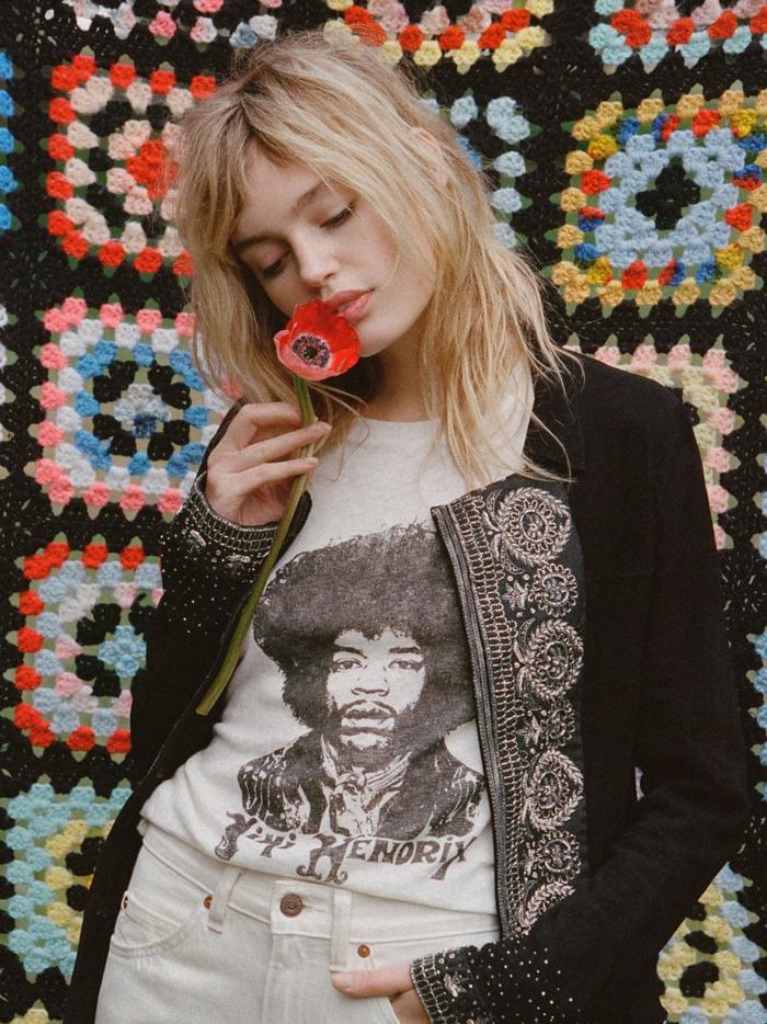 Une hippie mode seventies hippie peace love 1970 mode jimi hendrix ee shirt veste hippie