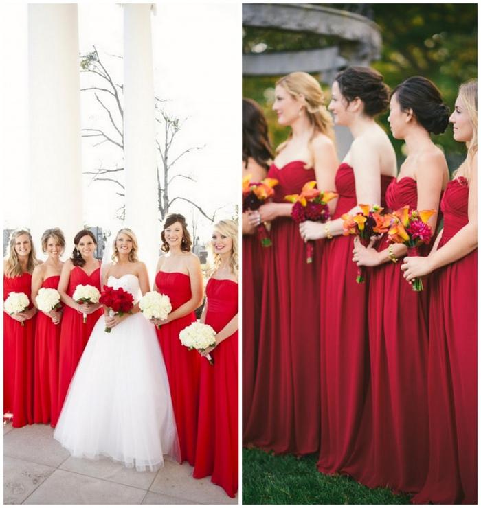 cortège nuptial de filles d'honneur en robes bustier rouge vermine en contraste fort avec la robe princesse de la mariée