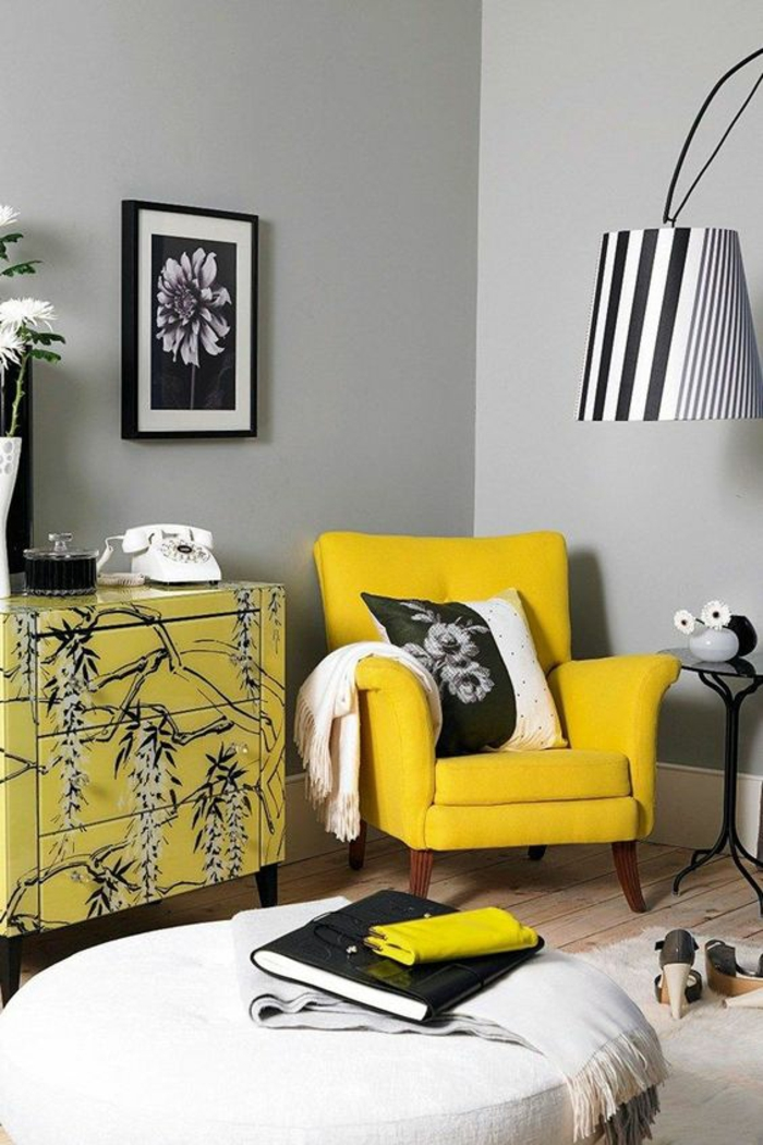 black and yellow living room design 1001 id 233 es pour am 233 nager en gris perle les variantes 24556