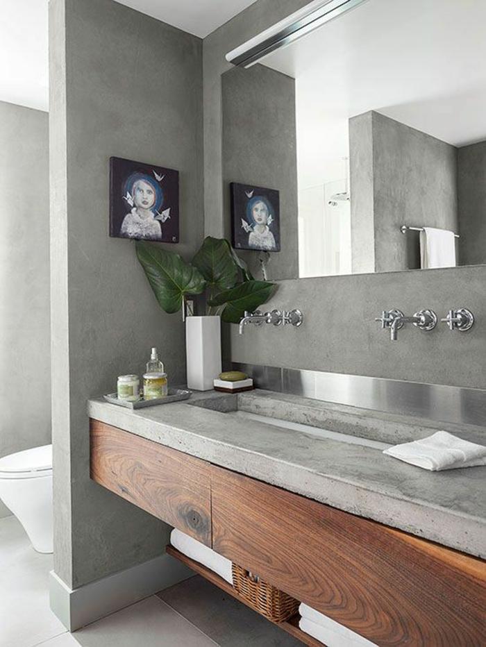 peinture gris perle salle de bain avec des meubles suspendus