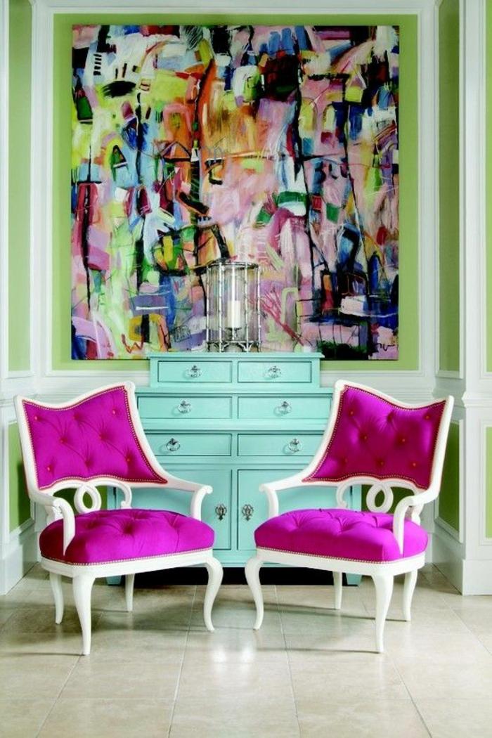 fuchsia couleur fauteuils en blanc et rose fuchsia combinaison avec du vert reseda et du blanc
