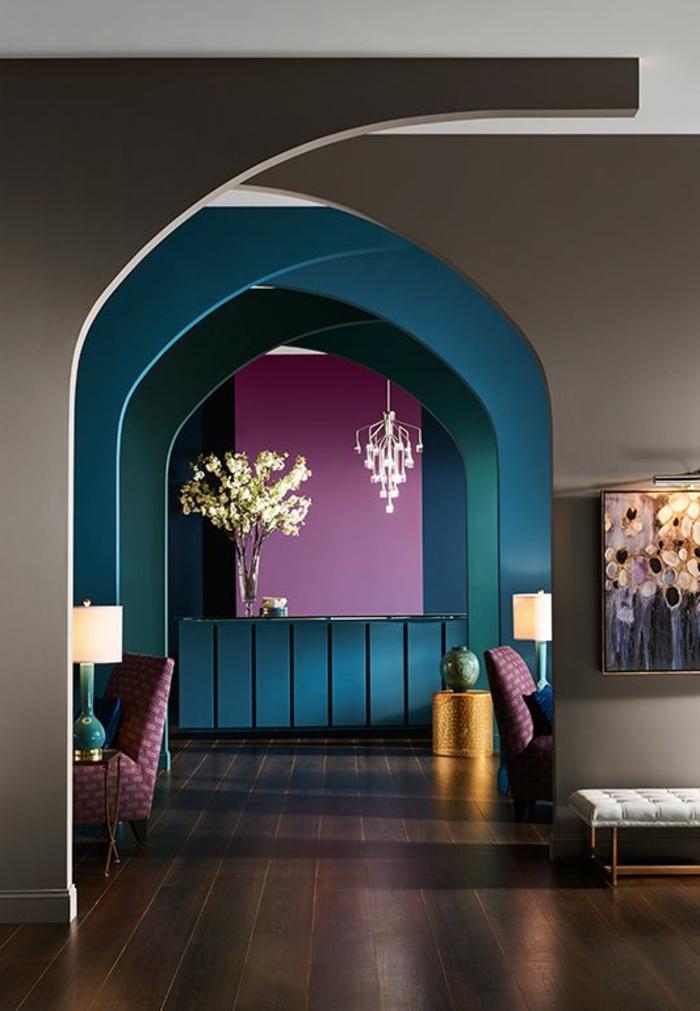 couleur peinture tendance, espace cosy et moderne, espace ouvert, tableau mural