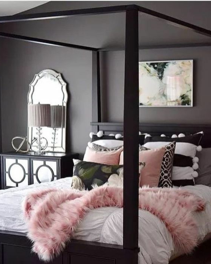 mur chambre rose poudr. Black Bedroom Furniture Sets. Home Design Ideas