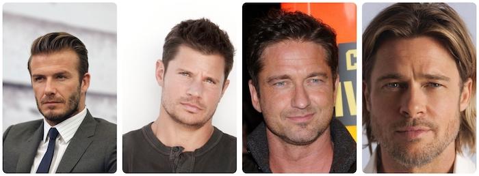 coiffure homme tendance, coupe de cheveux pour visage masculine carré, coupe de cheveux mi longs Brad Pitt
