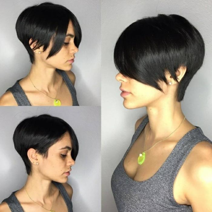 coupe de cheveux femme coupe asymétrique en chatain foncé stylisée sur la nuque
