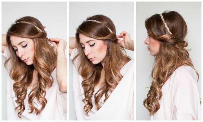 serre tête utilisée pour créer une coiffure facile et rapide, cheveux glissés dans le bandeau, coupe longue, cheveux bouclés