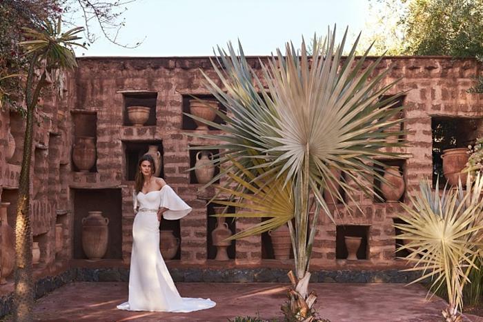Robe mariée sirène robe courte mariage robe mariée simple épaules nues manches geants