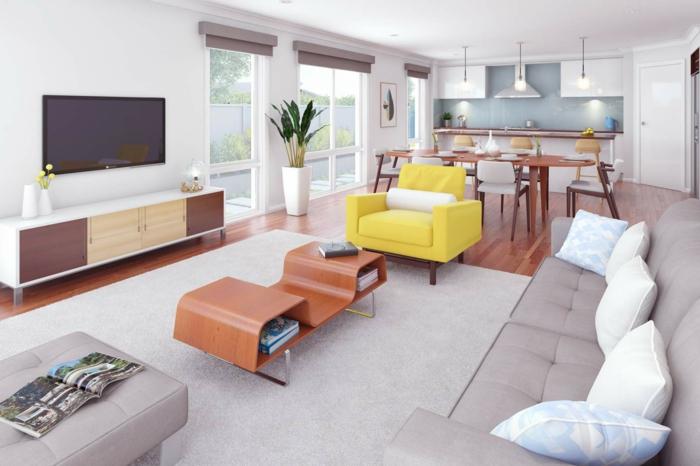 aménager une petite cuisine blanche avec des plans de travail bois marron, crédence carrelage bleu, parquet marron, salon tapis et canapé gris, fauteuil jaune, table basse design, meuble tv bois
