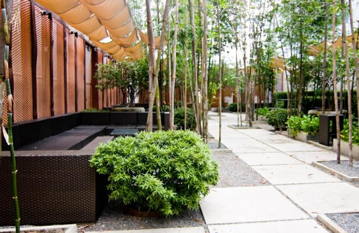 idée comment créer une decoration zen, chemin de dalles en pierre, bambou, arbres et arbustes, canapé exterieur coin repos
