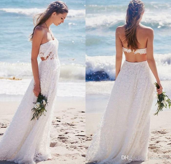 Une belle robe mariée bohème chic robe mariee boheme cool robe de mariee dentelle longue blanche en deux pièces