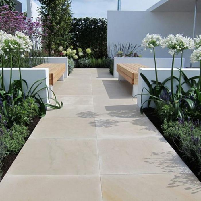 dalles et margelles piscines, jardin paysager, allée de jardin contemporaine