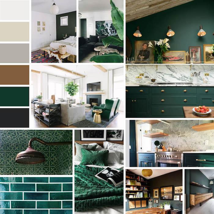 tissu tropical, couleurs tendances interieur 2017, plafond en bois, carrelage en vert, motifs ethniques, imprimés tropicales