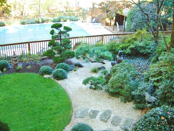 une petite pelouse verte, chemin de pierres et sol en terreau, gravier, arbustes et arbres vertes, statue japonaise, lanterne