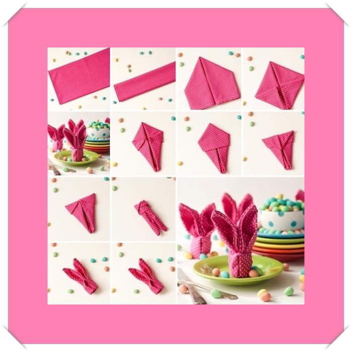 fete de paques, décoration thématique avec serviette, pliage origami de serviette rose en forme de lapin