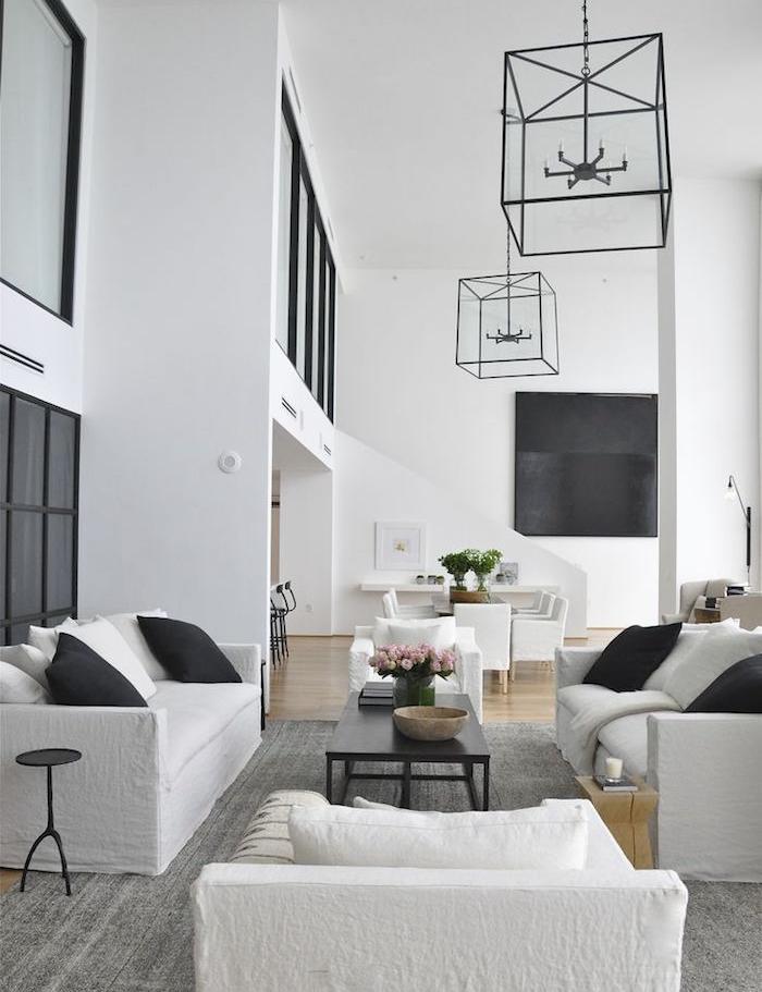 idées deco salons design loft moderne luxe decoration blanc noir