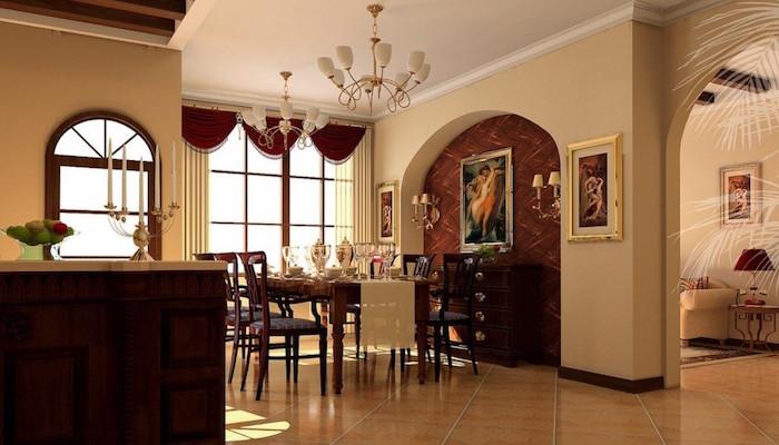 maison à l'intérieur beige agrémenté de meubles bistres