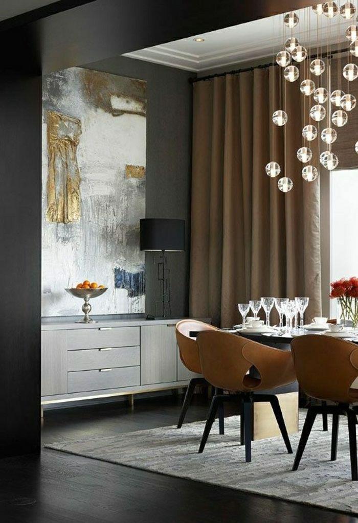 salle à manger bistre marron clair et meubles gris