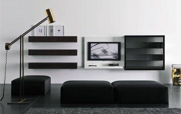 idée salon contemporain meubles deco design noir et blanc