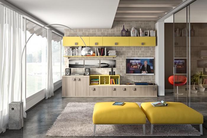 salon style contemporain avec meubles design vintage et déco simple
