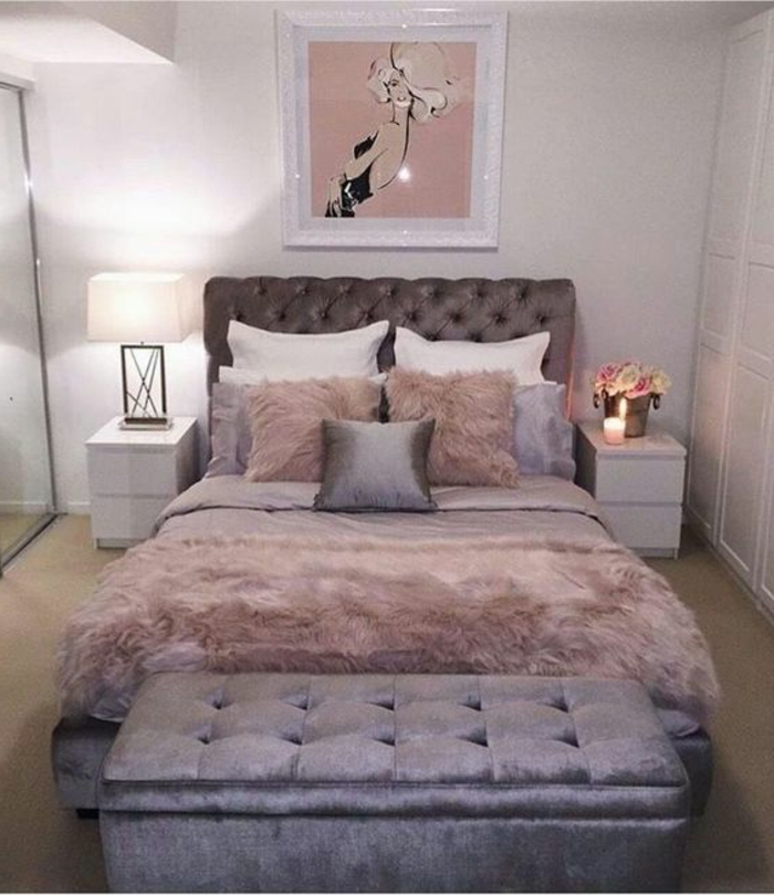 deco chambre gris et rose. Black Bedroom Furniture Sets. Home Design Ideas