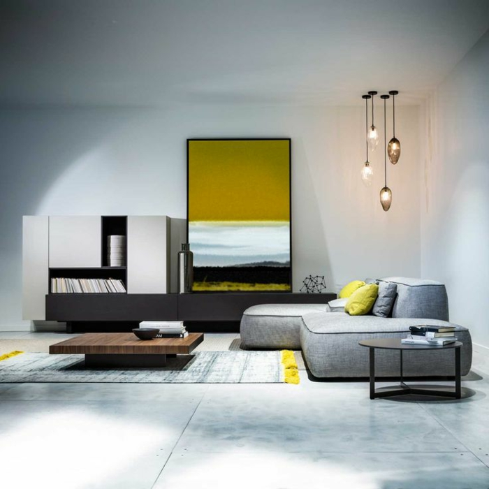deco moderne salon, sofa minimaliste, petite table japonaise, lampes suspendues