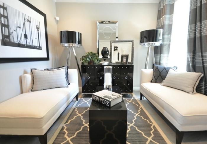deco moderne salon, petit séjour contemporain, petite table noire, photographie monochromatique