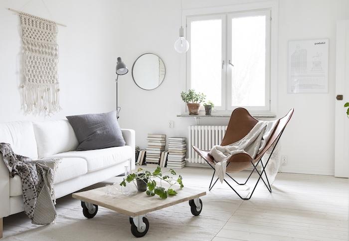 deco scandinave, parquet en bois peint en blanc, diy décoration murale macramé, lampe sur pied grise