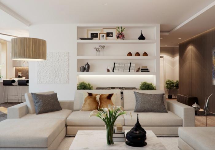 deco salon contemporain, étagère murale contemporaine, canapés gris, grande lamme arc
