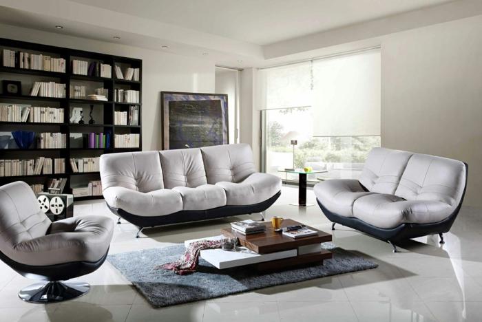 deco salon moderne, canapés confortables, tapis gris, table de salon modulable