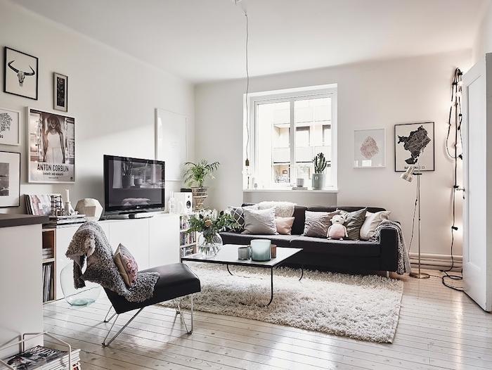mobilier scandinave, chaise en cuir noire, collection de magazines, plantes vertes, canapé noir avec coussins décoratifs