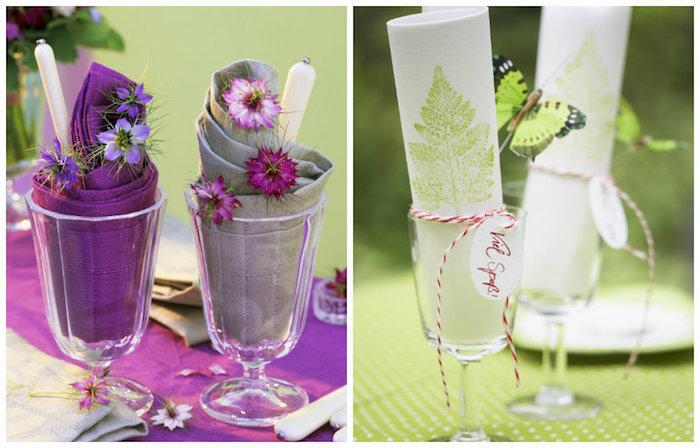 idée de décoration de fête, pliage de serviette origami, déco de table avec petites fleurs