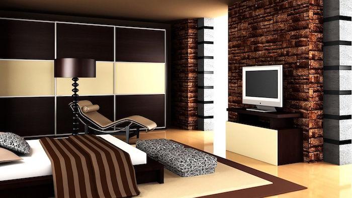 idée chambre design bistre couleur marron et beige